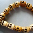 Tibetan Ox Bone Skull Skull Beads Buddhist Prayer Mala Bracelet Wrist  T0302