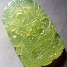 Light Green Jade Powerful Dragon Amulet Pendant 47mm*28mm  T0334