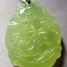 Light Green Jade Fortune Zodiac Dragon Bat Amulet Pendant 38mm*28mm  T0335