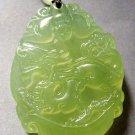 Light Green Jade Fortune Zodiac Dragon Bat Amulet Pendant 38mm*28mm  T0335