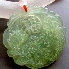 Light Green Jade Lucky Dragon Blessing FU Amulet Pendant 43mm*43mm  T0336