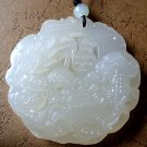 White Jade Chinese Word FU Lucky Dragon Amulet Pendant 45mm*45mm  T0395