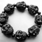 20mm Black Jade Tibet Buddhist Laughing Buddha Head Beads Elastic Bracelet  T0407