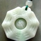 Natural Jade Jadeite Tai-Ji 8-Diagram Pendant Necklace 25mm*25mm  T0419R