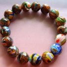 10mm Hand Painted Goldstone Gem Beads Elastic Bracelet  T0438