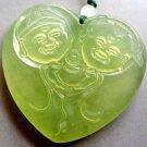Light Green Jade Yuanbao Money Heart Fortune Pendant 48mm*45mm  T0439