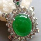 Acrylic Diamond Green Jade Alloy Metal Turtle Shape Pendant 35mm*22mm  T0516