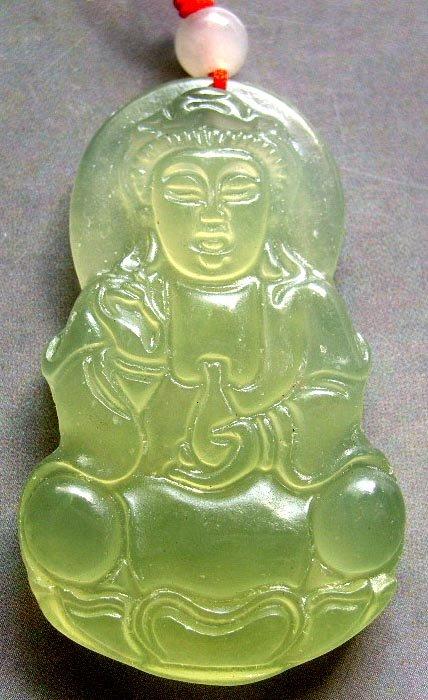 Light Green Jade Tibetan Buddhist Mercy Kwan-Yin Amulet Pendant 47mm*30mm  T0572