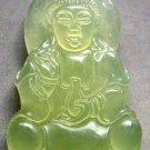 Light Green Jade Tibetan Buddhist Mercy Kwan-Yin Amulet Pendant 47mm*30mm  T0572