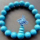 10mm Tibetan Buddhist Blue Turquoise Beads Mala Meditation Prayer Bracelet Wrist  T0639