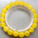 10mm Light Yellow Jade Beads Buddhist Prayer Mala Bracelet Wrist For Meditation  T0661