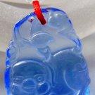 Blue Crystal Quartz Fortune Zodiac Lovely Pig Amulet Pendant 28mm*20mm  T0746