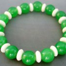 10mm Green Jade Fashion Jewelry Beads Hand Crafted Elastic Bracelet  T0761