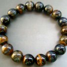 10mm Black Tiger Eye Gem Beads Tibet Buddhist Prayer Meditation Mala Bracelet Wrist  T0789