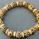 Ox Bone Lu-Lu Tong All The Way Open With Circle Beads Elastic Bracelet  T0802