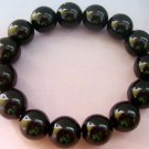 12mm Black Agate Beads Tibet Buddhist Prayer Japa Mala Bracelet Wrist  T0809