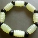 Sulcated Light Green Jade Beads Jewelry Bracelet  T0851