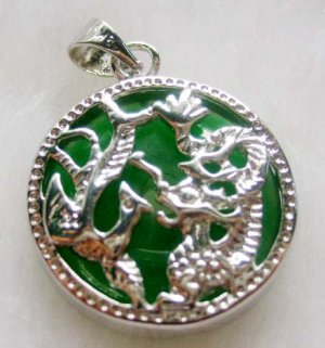 Malay Jade Inlaid Alloy Metal Dragon Phoenix Amulet Pendant 20mm*20mm  T0292