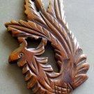 Ox Bone Carved Lucky Phoenix Amulet Pendant 47mm*34mm  T0929