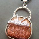 Goldstone Inlaid Alloy Metal Small Lady Handbag Pendant 32mm*24mm  T0965