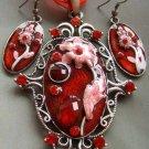Acrylic Diamond Alloy Metal Flower Pendant Necklace Earring  T1169