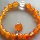 Crystal Quartz Orange Agate Beads Bracelet With Heart  T1179