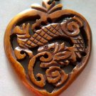 Ox Bone Carved Mythical Celestial Dragon Amulet Pendant 40mm*35mm  T1224