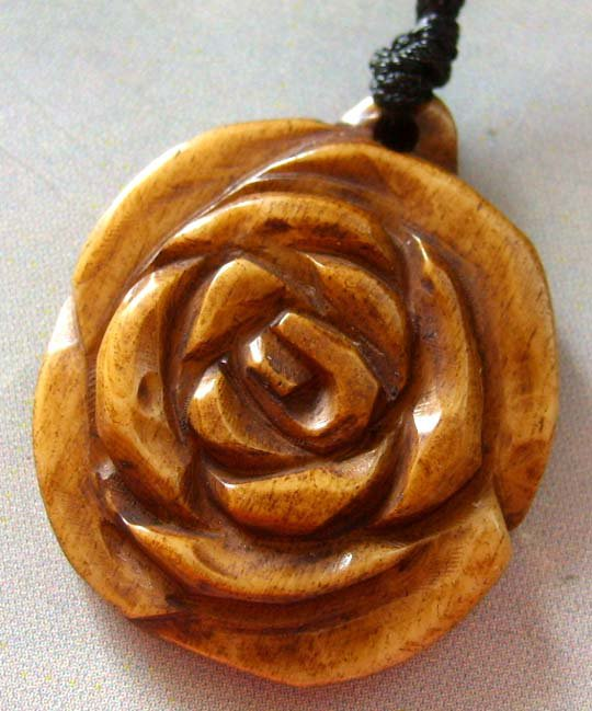 Ox Bone Carved Rose Flower Pendant Necklace 25mm*22mm  T1227