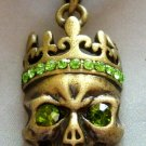Light Green Acrylic Diamond Alloy Metal Skull Head Pendant 30mm*18mm  T1237R