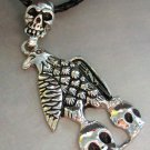 Alloy Metal Eagle Hawk Skull Pendant Necklace 60mm*34mm  T1302