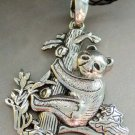 Alloy Metal Bear Panda Tree Pendant Necklace 55mm*40mm  T1308