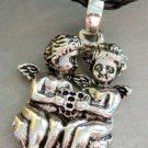 Alloy Metal Two Winged-Cherub Tian-Shi Pendant Necklace 38mm*28mm  T1310