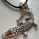 Alloy Metal Skull Crocodile Pendant Necklace 98mm*45mm  T1314