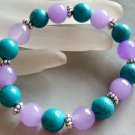 Lavender Jade And Blue Turquoise Beads Jewelry Bracelet  T1444