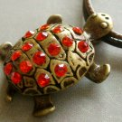 Acrylic Diamond Alloy Metal Longevity Turtle Pendant 30mm*22mm  T1480