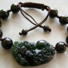 Black Green Jade Pi-Xiu Dragon Knot Bead Beads Bracelet  T1492