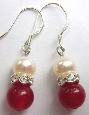 Pair Of Acrylic Diamond Pearl Wine-Red Jade Beads Earrings 15mm*8mm  T1504