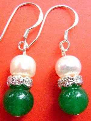 Pair Of Acrylic Diamond Pearl Deep Green Jade Beads Earrings 15mm*8mm  T1505