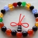 8mm Multi-Color Agate Beads Tibet Buddhist Prayer Mala Bracelet  T1518