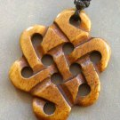 Ox Bone Carved Everlasting Love Knot Pendant Necklace 30mm*23mm  T1553