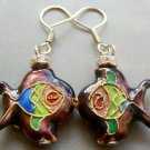 Pair Of Cloisonne Enamel Alloy Metal Fish Earrings 20mm*18mm  T1569