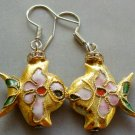 Pair Of Cloisonne Enamel Alloy Metal Fish Earrings 20mm*18mm  T1570