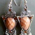 Pair Of Tibetan Style Acrylic Diamond Alloy Metal Earrings 50mm*22mm  T1599