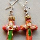 Pair Of Cloisonne Enamel Alloy Metal Christian Cross Earrings 18mm*14mm  T1587