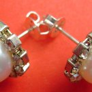 Pair Of Acrylic Diamond Alloy Metal Earrings 12mm*8mm  T1601