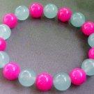 Pink Jade And Green Jade Beads Bracelet  T1678