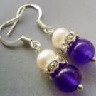 Pair Of Acrylic Diamond Pearl Purple Jade Beads Earrings 15mm*8mm  T1694