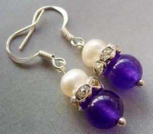 Pair Of Acrylic Diamond Pearl Purple Jade Beads Earrings 15mm*8mm  T1694