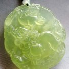 Light Green Jade Longevity Turtle Dragon-Lion Amulet Pendant 45mm*40mm  T1706