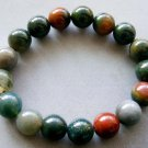 10mm Indian Agate Gem Beads Bracelet  T1756